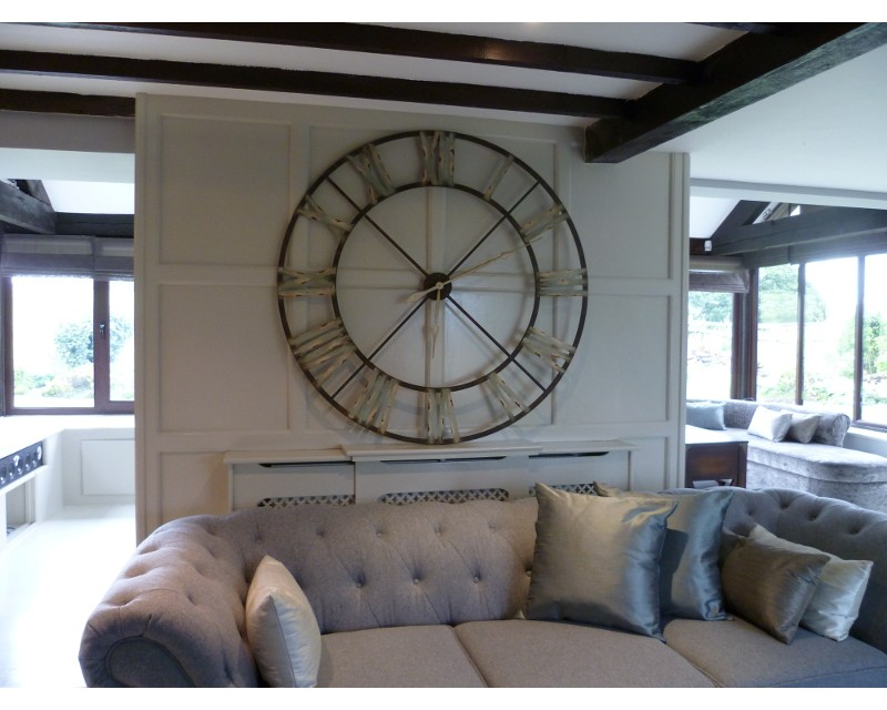 Extra large distressed white roman numeral clock - Large roman numeral wall clocks ...