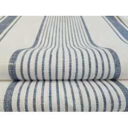 French Style 100% Linen Blue & White Stripe Fabric