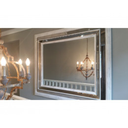 High Quality Extra Large White Washed Chrome Inlay Mirror
