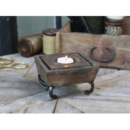 Handmade Old wooden Candle Holder