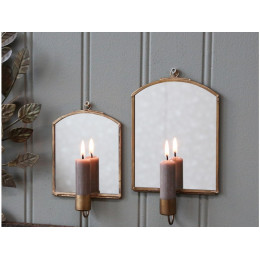 Small Wall Candlestick Holder with Mirror