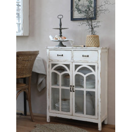 Distressed Off White Glass Door Chest with Drawers