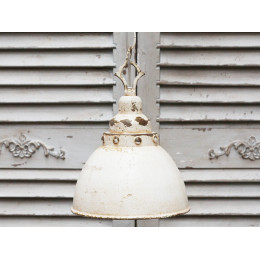 Antique Cream Domed Factory Lamp