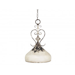 French Metal Hanging Ceiling Lamp Antique White