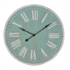 Large Duckegg & White Timber Roman Numeral Clock