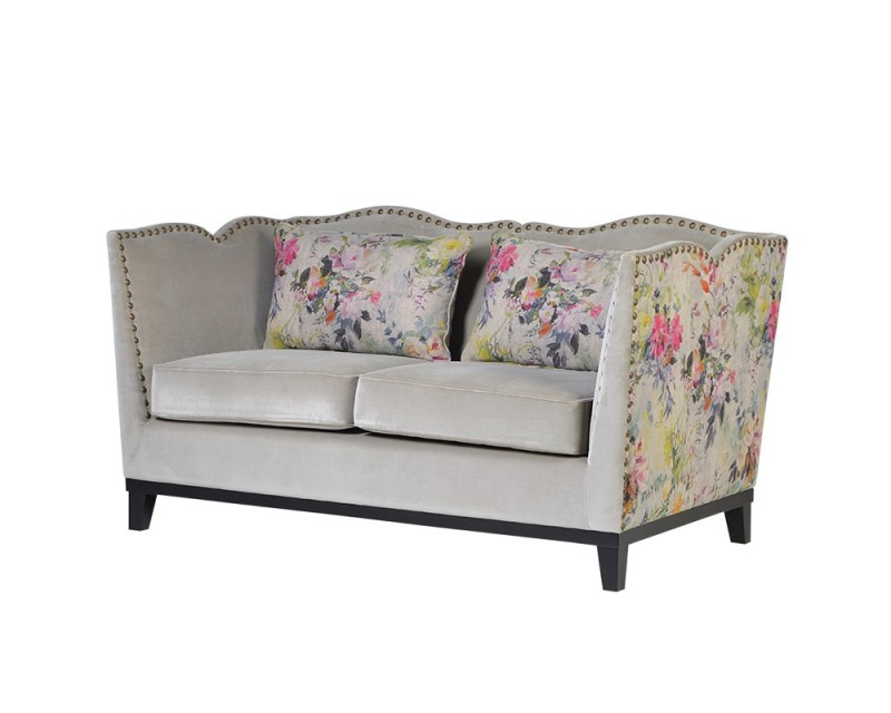 ... Unique Shaped Neutral With Floral 2 Seater Sofa ...