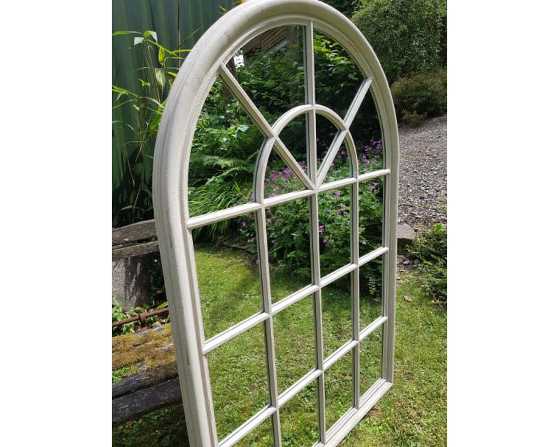 Large Distressed Cream Window Pane, Arched Window Pane Mirror Large