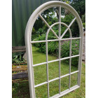 Large Distressed Cream Window Pane Arched Mirror