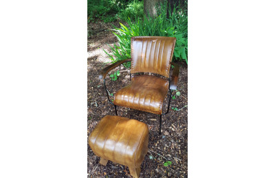 Iron & Leather Chair with Wooden Arms