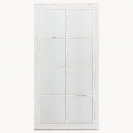 Distressed White Window Mirror