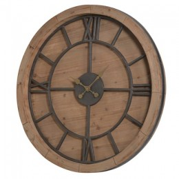 Extra Large High Quality Wood and Metal Roman Numeral Clock