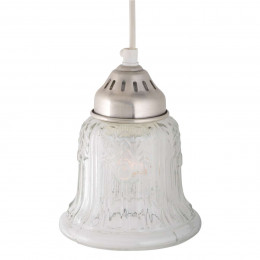 High Quality Detailed Pressed Glass Small Ceiling Light with Brushed Chrome Fitting