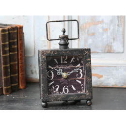 High Quality Distressed Black Kensington Station Mantel Clock