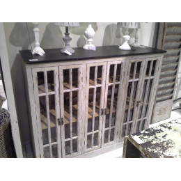 High Quality Distressed Vitrine 6 Door Cupboard with Black Top