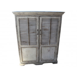 High Quality French Style Distressed Antique Cream Jalousie Door Shelved Cupboard