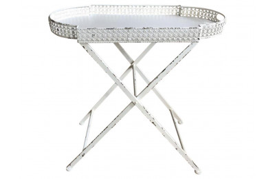 High Quality French Style Metal Antique White Lace Edge Design Tray with Stand