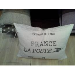 White Linen Cotton 'La Poste France' Cushion Cover