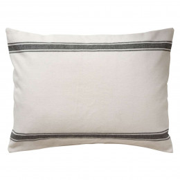 White Linen with Grey Stripe Cotton Cushion Cover